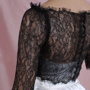 Off-Shoulder  black/ ivory /white/wedding bolero/chantilly lace style /bridal shrug /jacket 3/4  sleeve