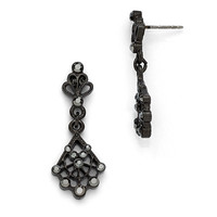 Black Plated Downton Abbey Jeweled Fan Dangle Earrings