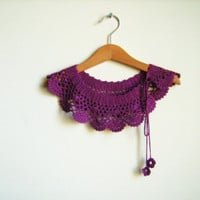 Collar Necklace, Handmade crochet Peter Pan Collar Necklace, hot purple collar,  ready to shipping, for her.