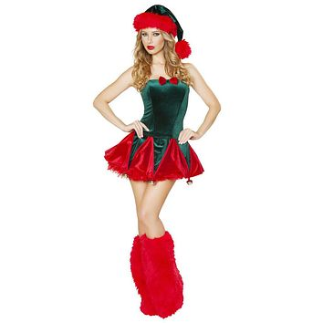 Sexy Jingle My Bells Holiday Corset and Skirt Costume