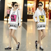 Korean Women Hoodies Fashion Women's Hooded Sport Casual Outerwear Lady Musical Note Long Sleeve Loose Tops Pullover Sweatshirts One Size G0309 Coat = 1932479236