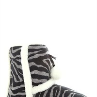 Glitter Zebra Print Slipper Boot with Faux Fur Trim