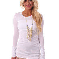 White Solid Long Top