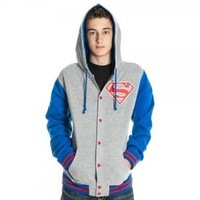 Superman Letterman Style Hooded Sweatshirt