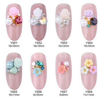 10pcs alloy 3d nail art rose flowers jewelry nails crystal rhinestones nailart nails decorations new arrive accessories Y951~958