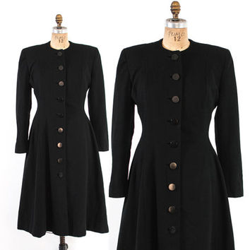 Vintage 40s COAT / 1940s Black Wool Fit and Flare Princess Winter Coat xs - s