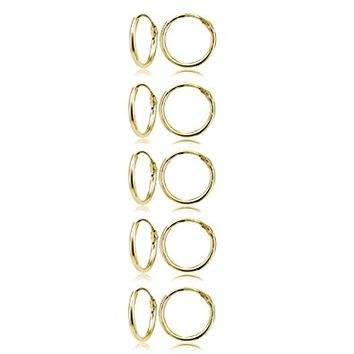 Set of 5 Yellow Gold Flashed Sterling Silver Small Endless 10mm Lightweight Thin Round Unisex Hoop Earrings