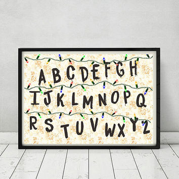 Stranger Things Netflix TV Show Movie Series 80s Sci Fi Art Gift Letters Lights Poster