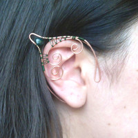 Handmade Copper & Green Elf Ear Cuffs, Pixie Ears, Faerie Jewellery, Woodland Elf Earcuffs, Copper Elf Ears, Elven Jewellery, Fantasy LARP