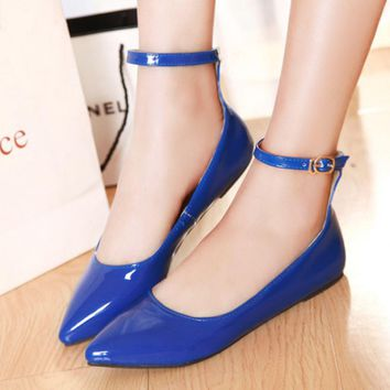 Ladies Shoes Pointed Toe Flats Ankle Strap Ballet Shoes Candy Color Yellow Blue Patent