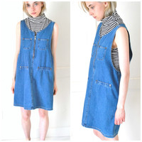 DENIM overall dress vintage early 90s GRUNGE 1990s dresses MINIMAL hipster jean JUMPER dress small medium