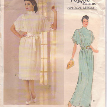 Vintage pattern for  Kasper loose fitting, short sleeved special occasion dress in 2 lengths misses size 8 bust 31.5 Vogue 1188 UNCUT