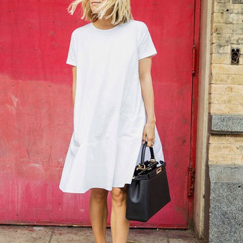 MATILDA White FLARED DRESS flare look Women clothing white dress peplum shape Flared trending clothing Minimalistic
