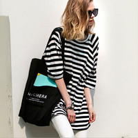 Stripe Print Loose Long Top