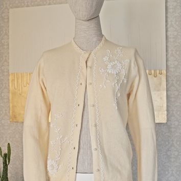 Vintage 1950s Buttercream + Beaded Cardigan Sweater