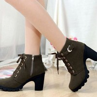 Low Chunky Heels Side Zipper Lace Up Short Boots
