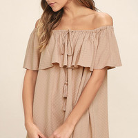 Melodic Blush Off-the-Shoulder Shift Dress