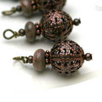 Antique Copper Finished Filigree Bead Dangle Charm Drop Set - 4 Piece