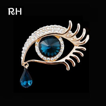Elegant Women Rhinestone Crystal big Eye Brooches for wedding party ladies waterdrop Angel Tears Brooches pins for women jewelry