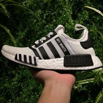 Best Online Sale OFF WHITE x Adidas Consortium NMD R1 Black White Boost Sport Running Shoes Classic Casual Shoes Sneakers