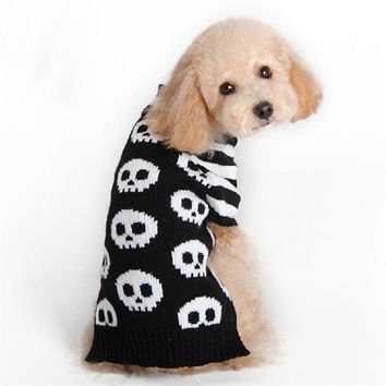New Skull Pattern Halloween Dog Costume Clothes Pet Funny Acrylic  Knitted Pet Clothing Small Dog Teddy Sweaters Coat S/X/M/L