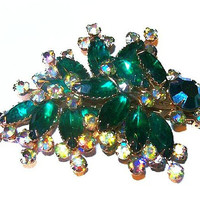 Beau Jewels Brooch Green & Aurora Borealis Rhinestones Gold Metal Layered BIG Vintage