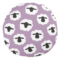Sheep print / Yarn Fiber Lover {Your Colors} Round Pillow
