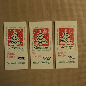 USPS Scott 2516a 25c Christmas Tree 3 Books 1990 60 Stamps Mint Booklet -- New