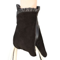 WARMEN Fashion Women Nappa&suede Leather Winter Warm Lined Gloves (M, Black)