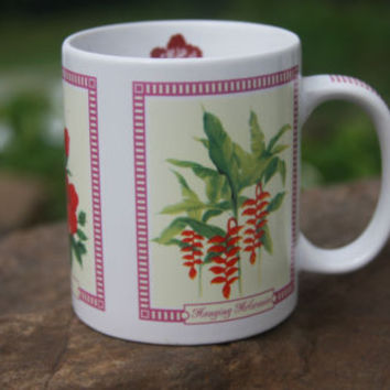 Tropical Flowers The Store Of HAWAII Coffee Tea Kitchen Mug with Flowers Red Wt