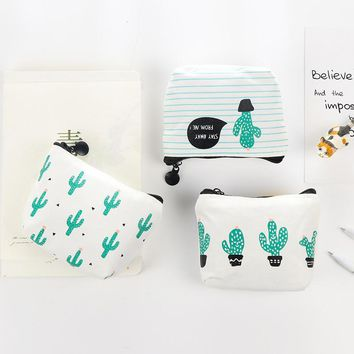 PACGOT novelty funny mini canvas cactus Portable Coin Purse money Pencil Case Unique Purse Bag Wallet pouch with zippers 1 Piece