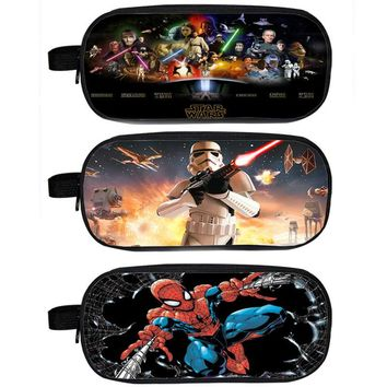 Star Wars Superhero Spiderman Badass Heros Deadpool Cosmetic Case Children School Cases Pencil Holder