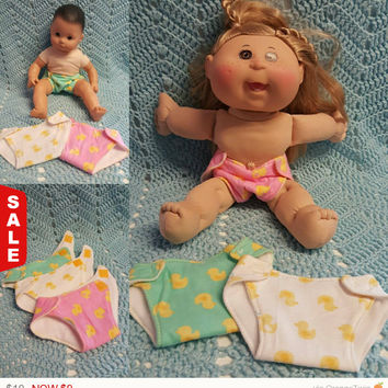 15 inch baby doll diapers Diaper Set Ducks fit 15 inch (or smaller) dolls and stuffed animals rubber duckies  L2