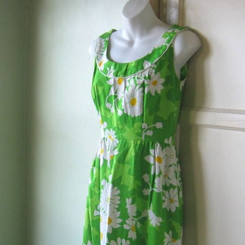 Mod Green Daisy Print Maxi Dress  - '60s Floral Sundress; Small-Medium - Retro Cocktail Party Maxi - Long Sundress