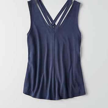 AEO Strappy V-Neck Tank , Navy