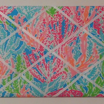 New memo board made with Lilly Pulitzer Lets Cha Cha fabric for Garnet Hill 2014