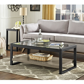 """48"""" Urban Blend Coffee Table with Glass Top - Driftwood/Black"""