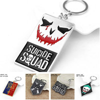 Hot Movie Suicide Squad The Joker Keychain Dog Tag Key Rings For Gift Chaveiro Car Keychain Jewelry Key Holder Souvenir F5076