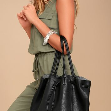 So Classic Black Drawstring Bucket Bag