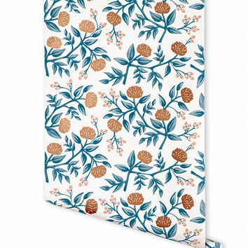 Peonies (Copper) Wallpaper by RIFLE PAPER Co. | Made in USA