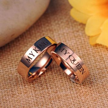 """316L stainless steel""""MY QUEEN"""" and """"MY KING"""" Couple rings"""