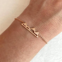 Rose Gold Mountain Range Bracelet, dainty adjust delicate petite chain link range graduation travel gift for her girlfriend wife