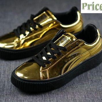2018 Shop Rihanna PUMA Platform Suede Creeper Gold Toe Golden sneaker