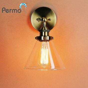 PERMO Retro Antique Funnel Glass Shade Wall Sconce Light Fixtures Modern metal wall lamp holder loft bedroom bathroom lighting