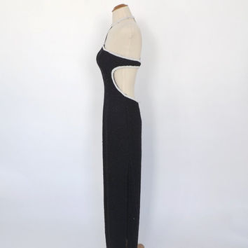 Vintage 80s does 1920s Black White Beaded Dress Long Maxi Sheath Gown Choker Neck Party Dress Great Gatsby Flapper 1930s Art Deco Gown