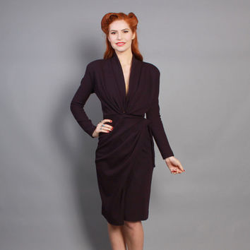 80s Donna Karan Wrap DRESS / Eggplant Purple Wool Jersey, Black Label, xs