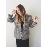 VINTAGE 80's Giorgio Sant' Angelo ROMANIAN Black and White CHECKERED Linen Blazer
