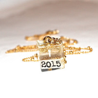 2015 Necklace Cube Necklace Gold Leaf Cube Pendant New Years Necklace Square Pendant 2015 Pendant Graduation Necklace Graduation Jewelry