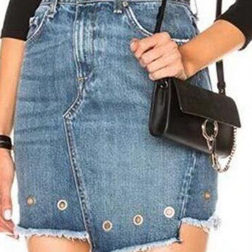 Blue Light Wash High Waist Eyelet Detail Asymmetric Denim Skirt
