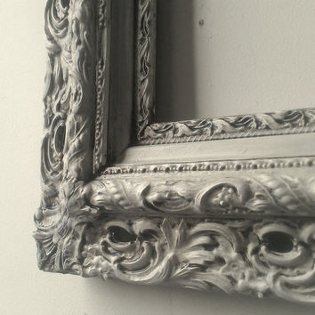 Large Antique White Wood Frame With Molded Gesso 33 by 23 Inches
